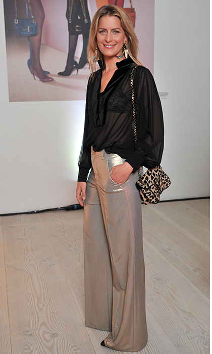 "<a href=""https://us.hellomagazine.com/tags/1/princess-tatiana/""><strong>Princess Tatiana of Greece</strong></a> teamed her metallic trousers and sheer blouse with a leopard print shoulder bag at the Roger Vivier book launch party at London's Saatchi Gallery in 2013.