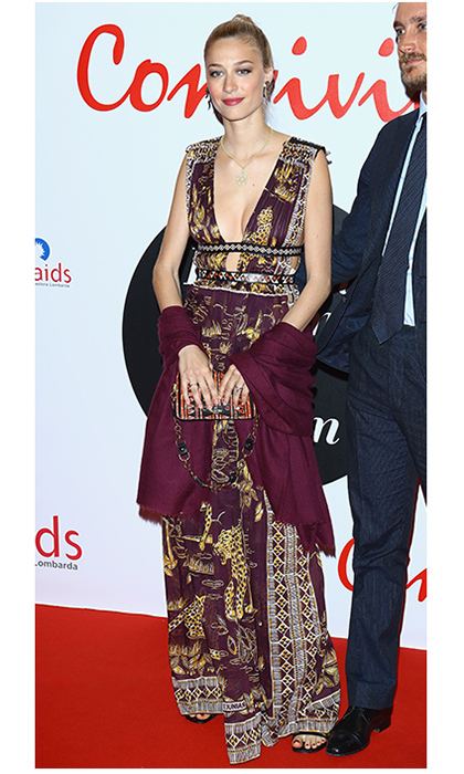 "Monaco royal <a href=""https://us.hellomagazine.com/tags/1/beatrice-borromeo/""><strong>Beatrice Borromeo</strong></a>  looked fierce in a Valentino gown emblazoned with images of leopards as she joined husband Pierre Casiraghi on the Convivio 2016 red carpet in Milan, Italy. 