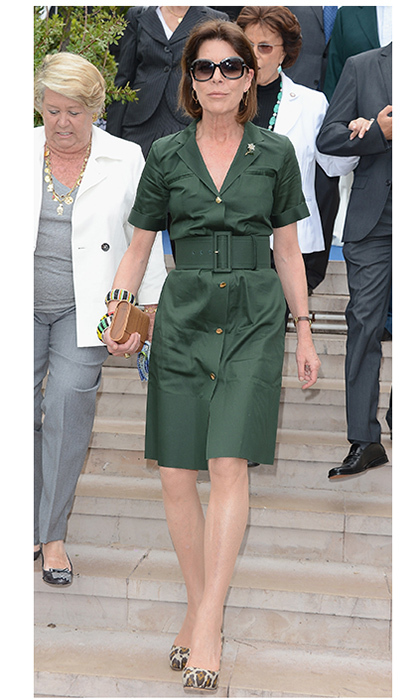 "Sometimes just a touch of print is all you need! <a href=""https://us.hellomagazine.com/tags/1/princess-caroline/""><strong>Princess Caroline</strong></a> sported a safari shirt dress with leopard high heels to the 45th International 'Concours de Bouquets' in Monaco back in 2012.