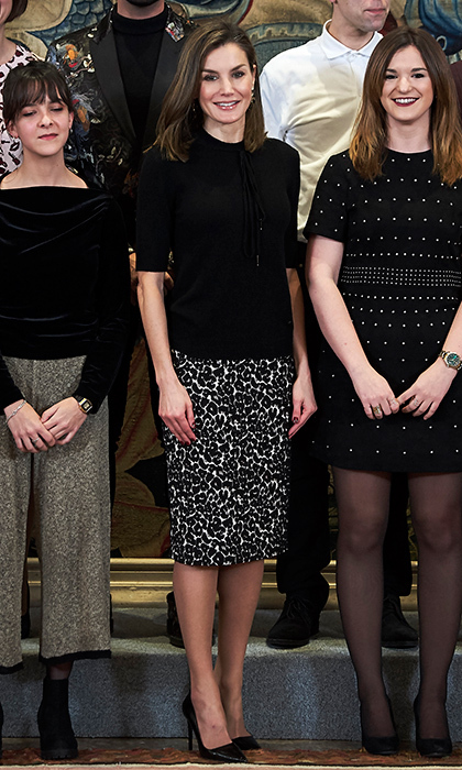 Queen Letizia of Spain took the pencil skirt to the next level in a black and white animal print at the Tomas Salcedo Awards held at the Zarzuela Palace in Madrid in February 2018. 