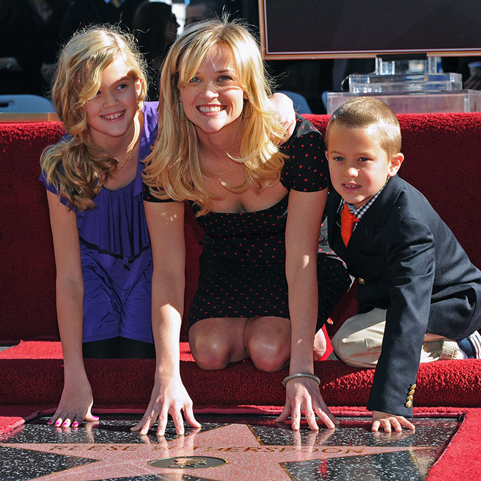 <I>Big Little Lies</i> star Reese Witherspoon was supported by daughter Ava Phillipe and son Deacon Phillipe when she received the 2,425th Star on the Hollywood Walk of Fame way back in December 2010. 