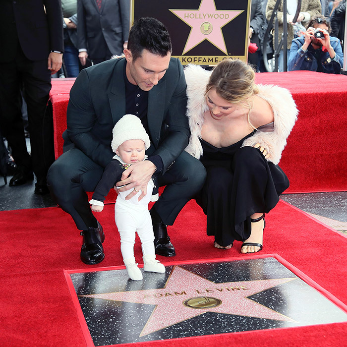Adam Levine's big day was shared with supermodel wife Behati Prinsloo and their daughter in February 2017. Little Dusty Rose was only five months old for her big Walk of Fame debut.