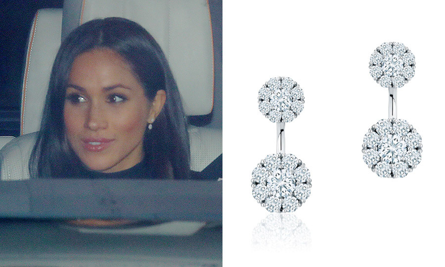 Meeting the extended royal family for the first time at Queen Elizabeth's Christmas lunch at Buckingham Palace in December 2017, Meghan donned the 'Nightshade' midi dress by Self-Portrait set off with these gorgeous Birks Snowflake Round Jacket Diamond earrings, which are priced at $5,995.