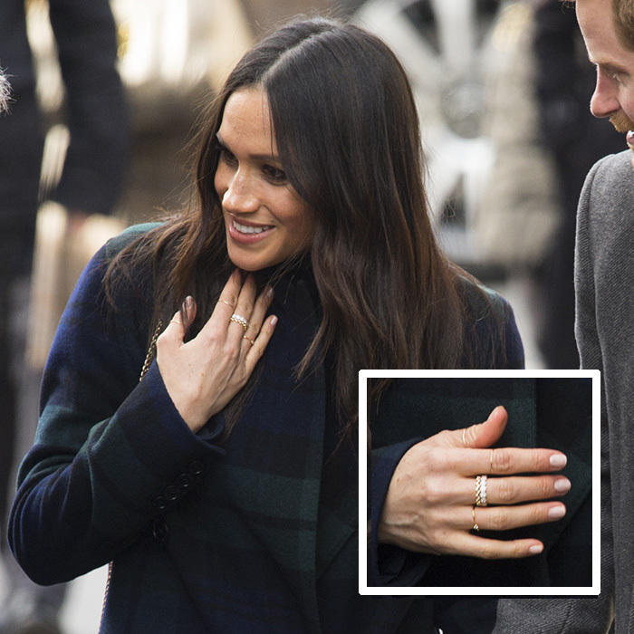 Meghan loves semi-precious gold jewelry and often wears affordable brand Missoma. When she visited Scotland in February 2018, she wore the brand's Interstellar ring; a fabulous design which is totally affordable and not to mention completely beautiful. Best of all, it will set you back just $59. The 18ct gold vermeil round pave star cosmic ring features a tiny stone.