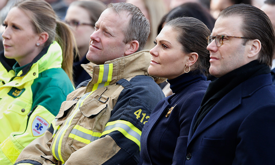 Sweden's future queen Crown Princess Victoria and her husband, Prince Daniel joined rescue workers and other mourners at a tribute to victims of the Stockholm terrorist attack on the first anniversary of the tragedy on April 7. 