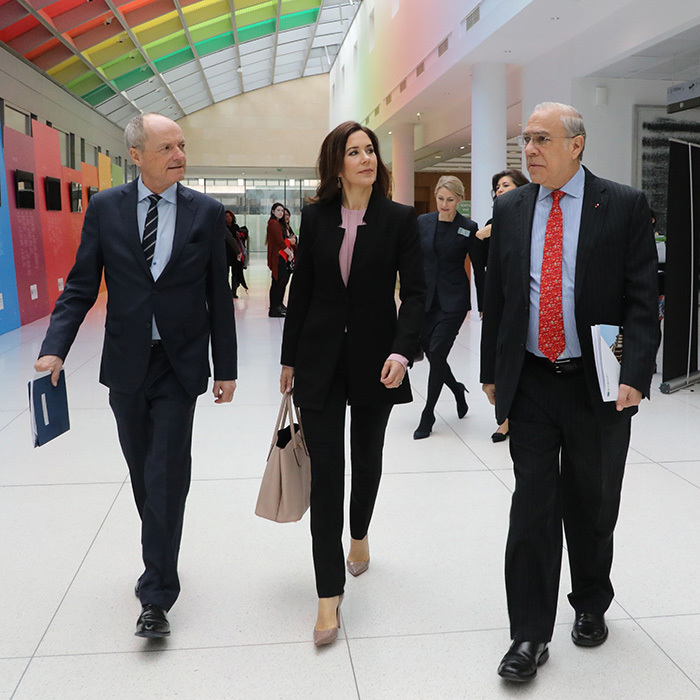 Crown Princess Mary of Denmark was all business as she joined the general secretary of the Organization for Economic Cooperation and Development (OECD) Angel Gurria, right, at the opening session of the OECD global forum on April 5.