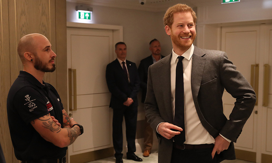 Could it be because of his American wife-to-be? As he prepares to tie the knot with Meghan Markle, Prince Harry looked especially pleased to be announcing the 'Walk Of America' launch at Mandarin Oriental Hyde Park in London on April 11. This summer, a team of six veterans from the USA and the United Kingdom will walk 1,000 miles from the west coast to east coast in 14 weeks.