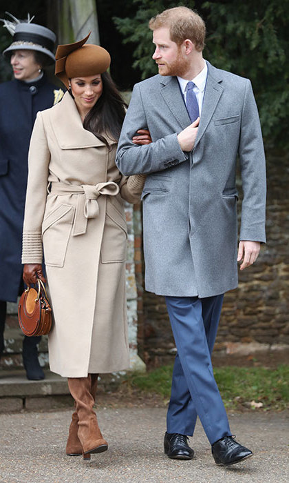 Meghan Markle made her first Christmas with the royal family debut in 2017. The actress looked beautiful in an elegant camel wrap coat by Canadian brand Sentaler. She finished her sophisticated look with a modern-style hat by Philip Treacy, boots by Stuart Weitzman, a 'Pixie' bag by Chloe and coordinating cashmere lined gloves by Dents.
