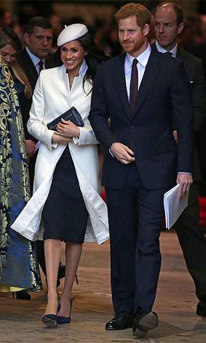 Meghan Markle joined the royal family at Westminster Abbey in March 2018 for Queen Elizabeth's annual Commonwealth Day service. It was the princess-to-be's first royal engagement with the Queen, and she wore a dress and coat by Amanda Wakeley, accessorized with a hat by Stephen Jones.