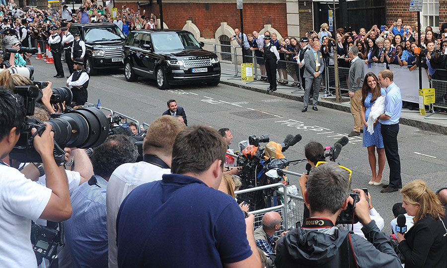 New parents William and Kate spoke to the huge crowd of press and well-wishers who had gathered outside the Lindo Wing in anticipation of George's big debut. 