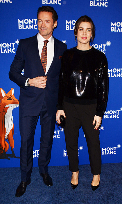 Princess Grace's granddaughter Charlotte Casiraghi swapped her red carpet gowns for a sequin top and black trousers as she joined Hugh Jackman for a Mont Blanc event.