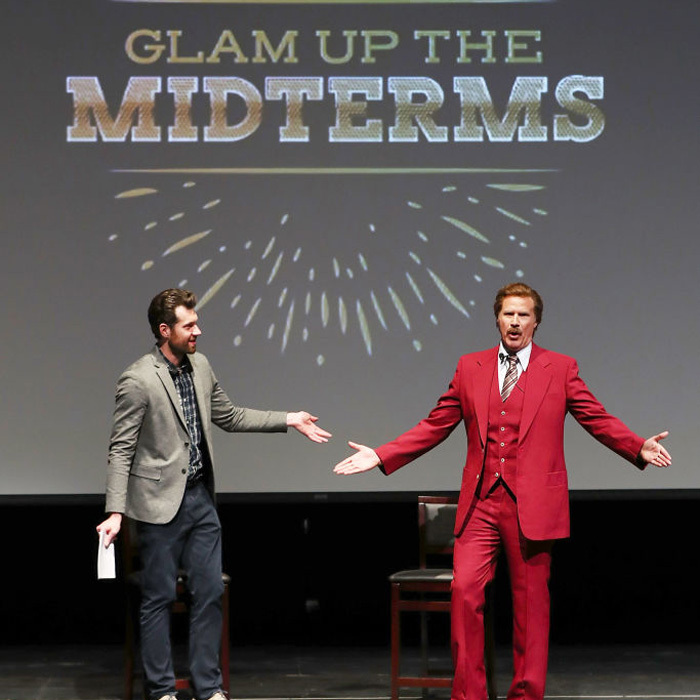Will Ferrell reprised his role from <i>Anchorman</i> on stage with Billy Eichner at the Glam Up the Midterms event in San Diego. On his way back to L.A. from the Funny or Die outing, the actor was involved in a car accident. 