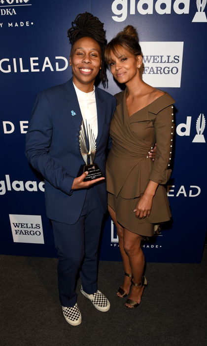Halle Berry presented Lena Waithe with the Outstanding Individual Episode Award for <i>Master of None</i> during the GLAAD Media Awards in L.A.