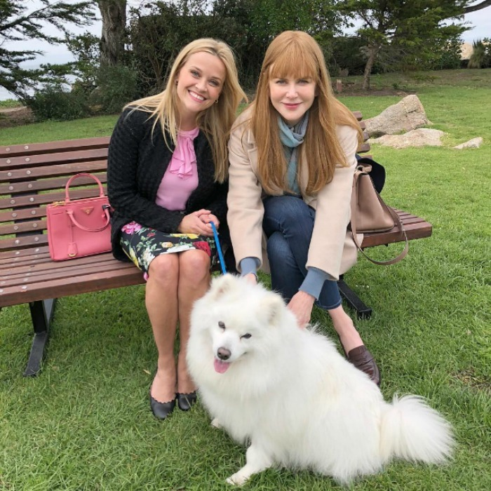 <i>Big Little Lies</i> just got a whole lot fluffier! Reese Witherspoon took to Instagram to introduce the hit drama's newest cast member: an adorable pup named Jolly! The actress and her producing partner/ co-star Nicole Kidman posed on set with the cute pup, revealing that he has the greatest hair in Monterey.