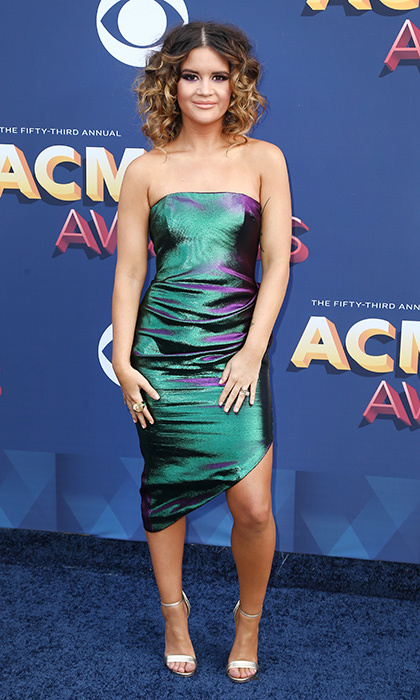 Newlywed Maren Morris went for mermaid chic in a green and blue iridescent strapless minidress.
