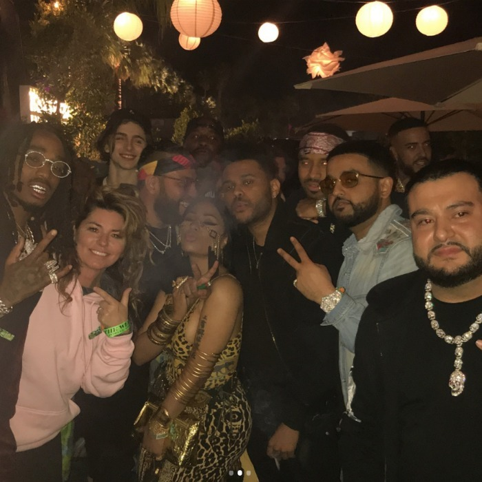 "Nicki Minaj gave the famed Oscars selfie a run for its money when she posted a group shot of her, Shania Twain, French Montana, The Weeknd, Quavo and Timothée Chalamet on Saturday, April 14. In the caption, the outspoken rapper, who rocked a gold animal print number, made sure to mention that Shania ""is so dope in real life."" She later shared a video to her story which showed her dancing the day away with Kylie Jenner.