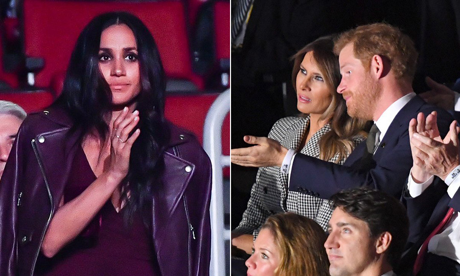 Our first glimpse of Meghan Markle as Prince Harry's girlfriend came when she showed support for him at one of the events that is closest to his heart, the Invictus Games, in Toronto, in November 2017. The <I>Suits</I> star was seated in a separate section from her royal boyfriend, who took his place next to First Lady Melania Trump.