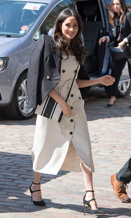 "On April 18, Meghan  – who is definitely our new favorite queen of neutrals! – joined her husband-to-be Prince Harry in London to attend the Commonwealth Youth Forum meeting for the Commonwealth Heads of Government Meeting (CHOGM). The 36-year-old future royal bride sported a nautical look that was perfect for the sunny weather: a pinstriped cream button-front dress by Altuzarra, a Camilla and Marc blazer and, <a href=""https://us.hellomagazine.com/fashion/12018032826440/meghan-markle-purse-top-handle-handbag/1/""><strong>leaving her top-handle handbags at home</strong></a>, the $221 graphic striped Avalon crossbody purse by Australian luxury brand Oroton.