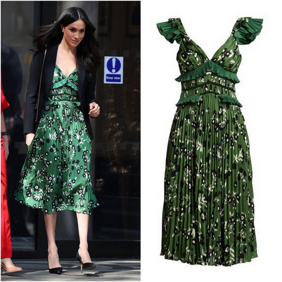 Meghan surprised royal fashion watchers when she stepped out for the April 21 Invictus Games reception in color, setting aside her usual neutral looks. Spotted as she arrived for the London event, the former actress wore the Cold-Shoulder Floral-Print Midi Dress in green from celebrity favorite Self-Portrait. The dress is available at Neiman Marcus for $510.