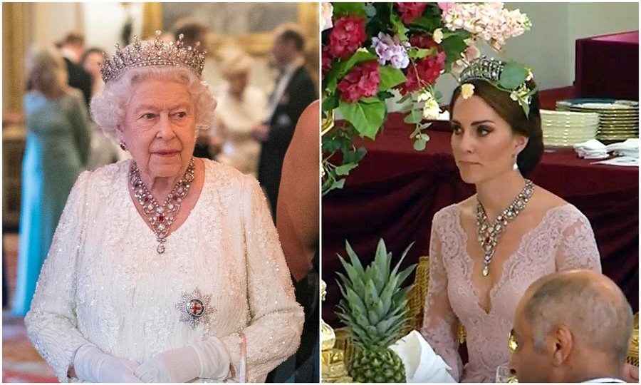 Hosting a dinner for the Commonwealth nations at Buckingham Palace on April 19, the Queen wore the Girls of Great Britain and Ireland tiara along with the stunning Ruby and Diamond Floral Bandeau necklace. The stunning necklace was last seen worn by Her Majesty's granddaughter-in-law Kate Middleton, who had donned it at a state dinner, right, with visiting King Felipe VI and Queen Letizia of Spain. 