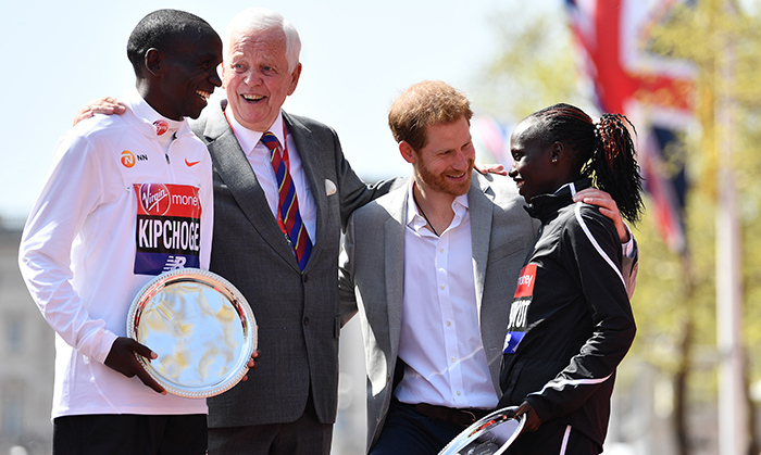 As patron of the London Marathon Charitable Trust, Prince Harry paid a visit to the annual event to cheer on competitors in the elite men, women, wheelchair and IPC races. His enthusiasm was infectious as he talked with the first-aid team, marathon staff and winners! 