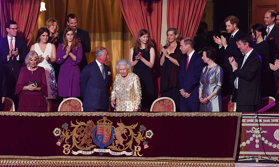 A family affair! In the royal box, left to right: front row – Camilla, Duchess of Cornwall, Prince Charles, Queen Elizabeth II, Prince William, Princess Anne, Vice Admiral Sir Timothy Laurence; second row – Jack Brooksbank, Princess Eugenie, Autumn Phillips, Princess Beatrice, Peter Phillips, Lady Louise Windsor, Sophie Wessex, Prince Harry, Meghan Markle and Prince Edward.
