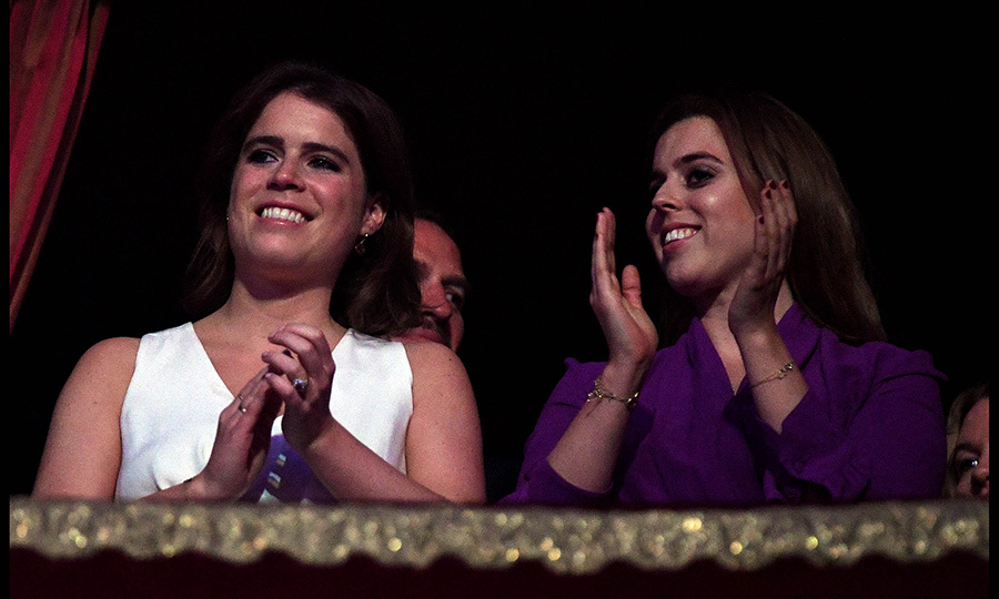 The Queen's granddaughters Princess Eugenie, left, and Princess Beatrice, right, at the concert. Eugenie, who is set to wed in October, was accompanied by her fiancé Jack Brooksbank to the event.