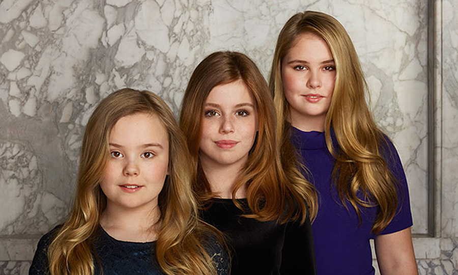 On April 26, the Dutch Royal Palace released a stunning new set of photos of King Willem-Alexander and Queen Maxima, along with their three daughters Princess Amalia, 14, Princess Alexia, 12,  and Princess Ariane, 11, to celebrate the monarch's five-year anniversary on the throne. The royal couple's three daughters are seen here in a group portrait from the set of photographs, which were taken at the royal palace in Amsterdam by Erwin Olaf last month.