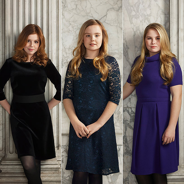 In individual portraits, Amalia, the future queen of the Netherlands, looks poised in a purple dress while Princess Alexia strikes a pose in a velvet LBD. The youngest of the family, Princess Ariane, 11, is sweet in a pretty blue lace dress.