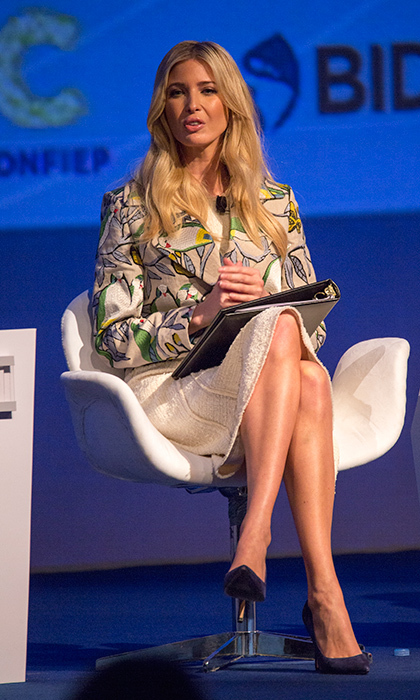 On April 13, the US Presidential Advisor spoke during the III CEO Summit of the Americas in Lima, Peru opting for a bouclé skirt and tailored bird print blazer. 