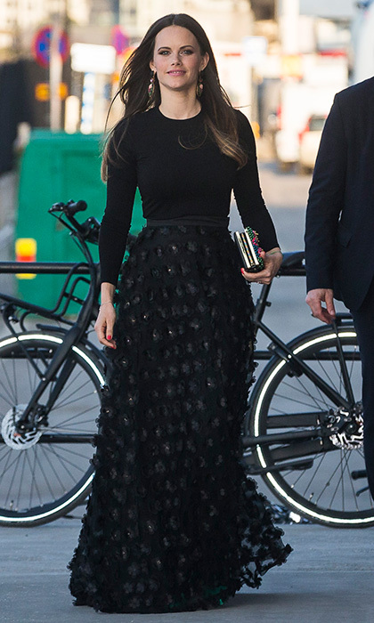 With the streets of Stockholm as a backdrop, former model Princess Sofia of Sweden looked like she could have been starring in a fashion shoot! The royal wore an embroidered floor length skirt and long-sleeved knit top to the UNDP's Spring Gala at the Fotografiska photography museum.
