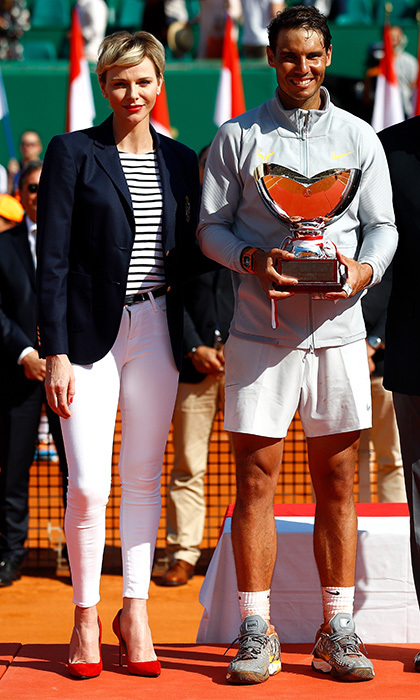 Princess Charlene of Monaco had a chance to show off her sportswear side in skinny white trousers and stripes as she helped tennis star Rafael Nadal celebrate his win at the ATP Masters Series Monte Carlo Rolex Masters on April 22. 