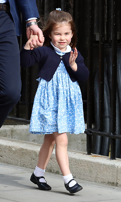 Princess Charlotte of Cambridge couldn't have looked more adorable as she arrived with dad Prince William and brother Prince George to meet her new baby brother Prince Louis. For the April 23 visit to the Lindo Wing, the little girl was dressed in a blue Little Miss Alice dress, navy cardigan and Mary Jane shoes. 