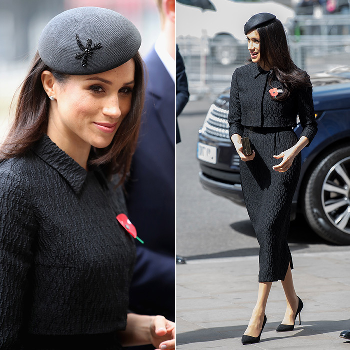 Meghan Markle was all about retro glam for the Anzac Day service at majestic Westminster Abbey: a bespoke textured crepe midi skirt suit by Emilia Wickstead and Philip Treacy pillbox-style hat.