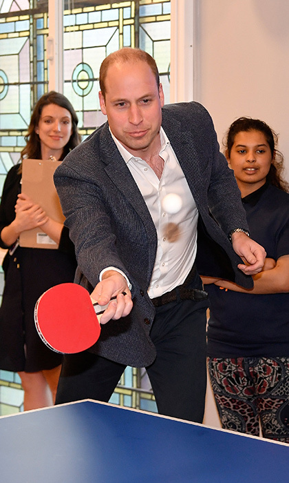 New dad Prince William had the chance to unwind with a round of ping pong during the Greenhouse Sports Centre visit, which took place on April 26.