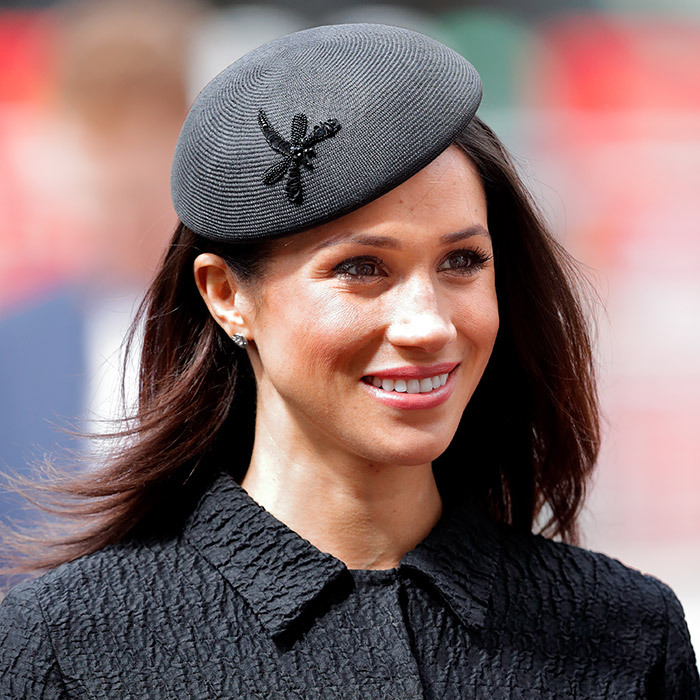 On April 25, 2018, Meghan opted for a 1950s-style skirt suit by Emilia Wickstead, and topped the outfit with a retro Philip Treacy hat with a beaded dragonfly accent. She wore the look to accompany Prince Harry and his brother Prince William for the Anzac Day service at Westminster Abbey. 