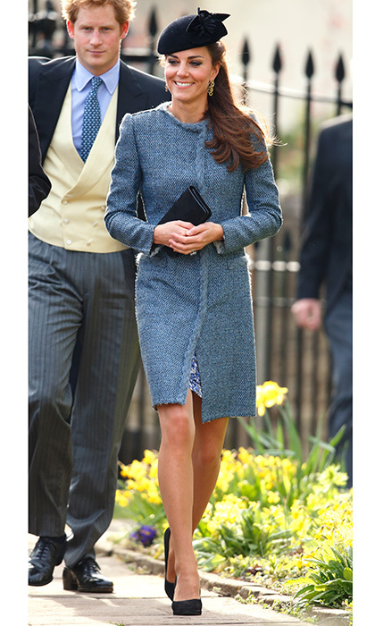 Catherine, Duchess of Cambridge wore one of her fave blue tweed M Missoni coats to Lucy Meade and Charlie Budgett's wedding in March 2014. The nuptials took place at the church of St Mary the Virgin in Chippenham, England. 