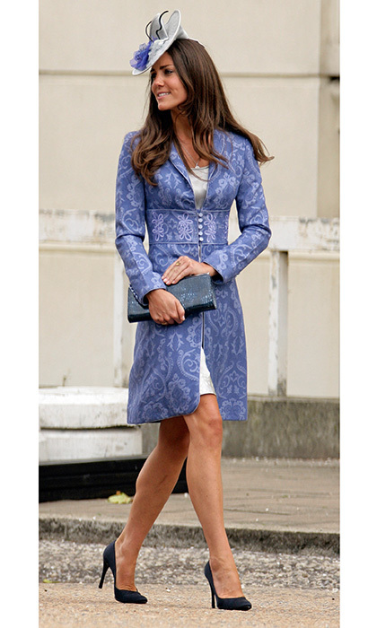 When it comes to her wedding outfits, it's clear Duchess Kate can't resist a beautiful brocade! For Nicholas Van Cutsem and Alice Hadden-Paton's August 2009 nuptials at The Guards Chapel, Wellington Barracks in London, she opted for a cornflower blue coat by Jane Troughton and grey fascinator. 