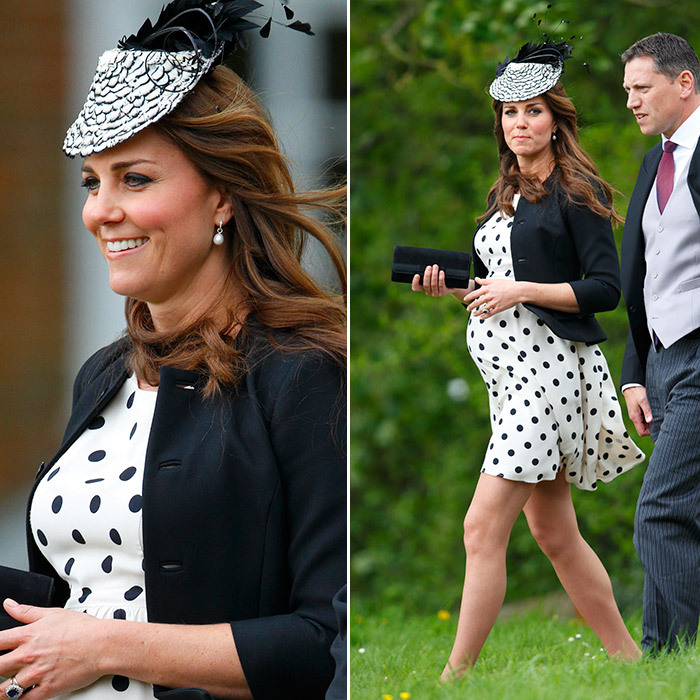 In May 2013 while pregnant with Prince George, Kate wore a fun polka dot dress from Topshop and a black and white fascinator as her friends William van Cutsem and Rosie Ruck Keene tied the knot at the church of St Mary the Virgin in Ewelme near Oxford, England. 