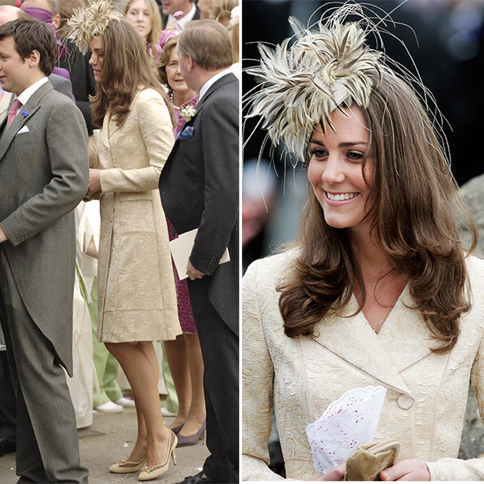 "In May 2006, the future Duchess of Cambridge was a guest at boyfriend Prince William's stepsister's wedding, where she wore the same Day Birger et Mikkelsen coatdress she donned years later for Zara's nuptials. For the <a href=""https://us.hellomagazine.com/lifestyle/12018020825860/laura-parker-bowles-harry-lopes-wedding/1/""><strong>Laura Parker Bowles and Harry Lopes wedding</strong></a>, though, Kate accessorised with a feather fascinator instead of a wide-brimmed hat. 
