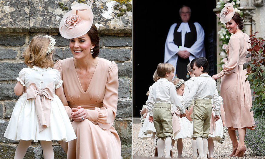 At her sister Pippa Middleton's May 2017 wedding to James Matthews at St Mark's Church in Englefield, England, the Duchess of Cambridge played a supportive role rounding up the young attendants. The royal wore a pink dress by Alexander McQueen in a shade of pink that matched the sweet dresses worn by the flower girls, including Kate's daughter Princess Charlotte.