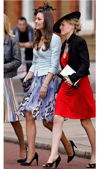In the past, a day dress and tailored jacket combination was Duchess Kate's go to look for weddings. While a royal girlfriend, Kate opted for a silk violet frock and blue jacket to watch Lady Rose Windsor and George Gilman walk down the aisle at The Queen's Chapel, St James's Palace in July 2008.