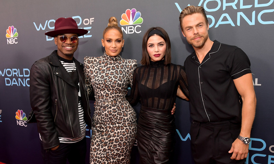 Dance the night away! Jennifer Lopez was joined by her fellow <i>World of Dance</i> judges Ne-Yo, Jenna Dewan and Derek Hough during the FYC event for the series at Saban Media Center on May 1 in North Hollywood.