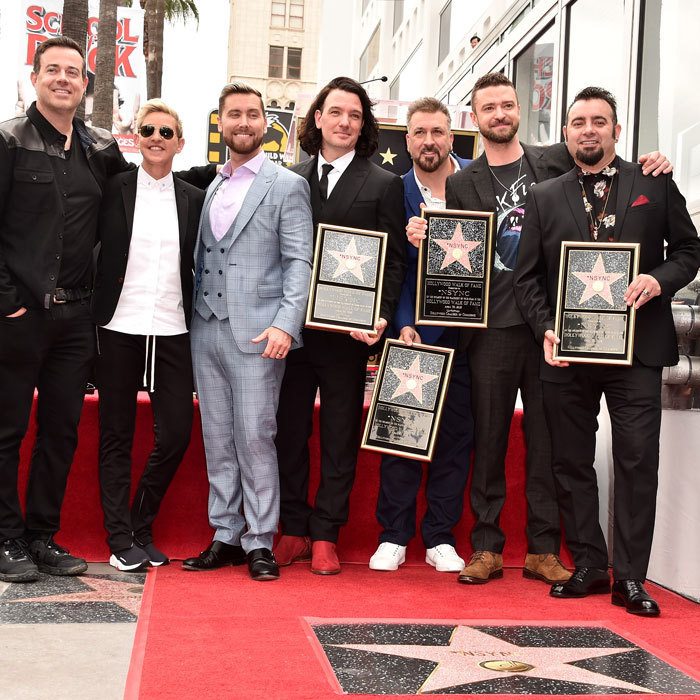 The boys of 'NSYNC reunited for their Hollywood Walk of Fame star ceremony. Lance Bass, JC Chasez, Joey Fatone, Justin Timberlake and Chris Kirkpatrick were joined by Carson Daly and Ellen DeGeneres, who both had fun roasting the group, before they took the stage. 