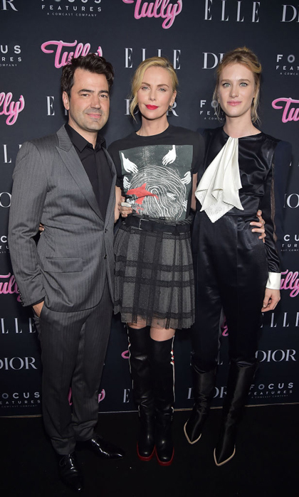 Charlize Theron was rocker chic along with Ron Livingston and Mackenzie Davis at a special screening of <i>Tully</i>, presented by Elle, Dior, and Focus Features in NYC.