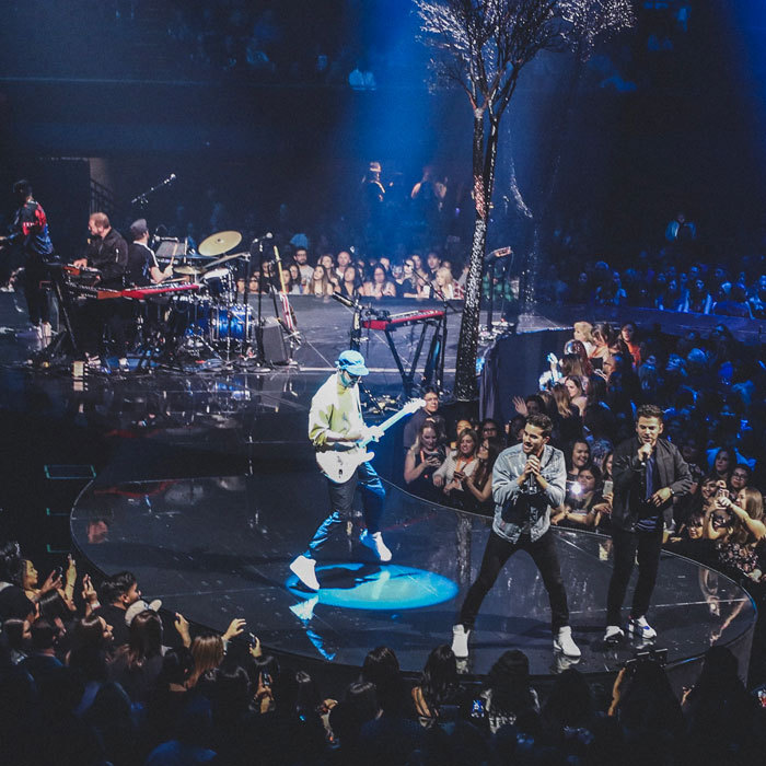 "The Shadowboxers are very much visible as they have been on the road with Justin Timberlake during his <i>Man of the Woods</i> tour. ""To say this is the best tour we've ever done is a huge understatement,"" the group that consists of Adam Hoffman; Matt Lipkins; Scott Tyler; Cole McSween; Carlos Enamorado told HELLO! after their L.A. Forum performance. ""To be opening for one of the greatest entertainers of all time is a lot of pressure, but it has forced us to really up our game and approach our show from a completely new perspective. JT fans across the country have been really digging what we do, and it's so gratifying to see the response every night. The whole thing is just too cool.""