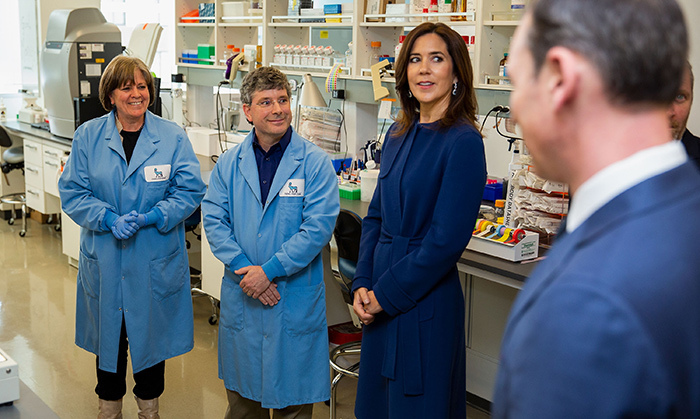 The Crown Princess got a lesson in access to care for people with obesity while visiting the Novo Nordick Research Center in Seattle, where she sought to explore Danish culture. Picture here: she speaks with technical scientist Anitra Wolf and principal research scientist Jason O'Neil on May 4.
