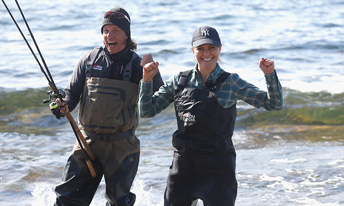A royal catch! Crown Princess Victoria of Sweden definitely shares her country's love of the great outdoors. The future monarch embarked on a discovery mission throughout Sweden to experience nature in its' various forms. Seen here: she waded into the water at Gotland, Sweden's Hall-Hangvar Nature Reserve on May 4 for a bout of fishing.