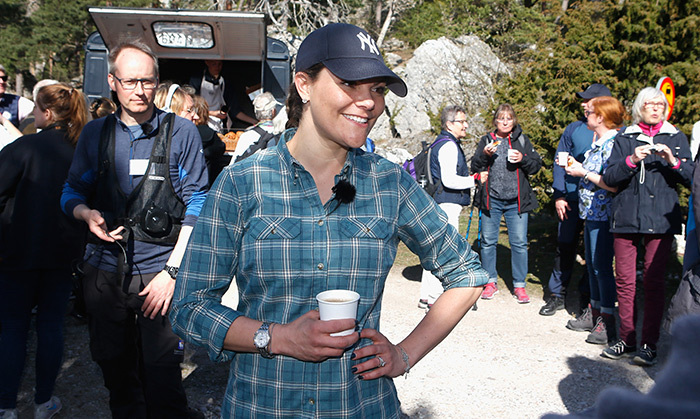 Go, Yanks! With her boots strapped up tight and a Yankees cap to shield her eyes, Crown Princess Victoria was ready to hike. In addition to fishing, the mother-of-two hiked through her country to get to know the people and, of course, grow closer to nature. 