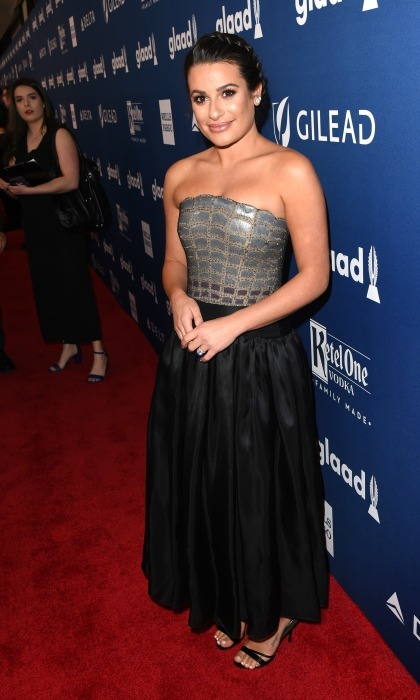 She's taken! Lea Michele flaunted her gorgeous engagement ring, from Zandy Reich, as she walked the carpet at the 29th Annual GLAAD Media Awards in NYC. While attending the Hilton Midtown located event, the star looked stunning in a black and silver gown.